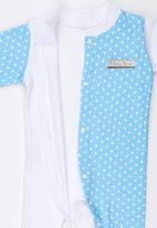 Poogy Bear - Front Opening Babygrow Pale Blue