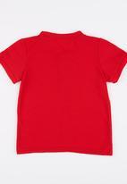 POP CANDY - Short Sleeve Henley Tee Red