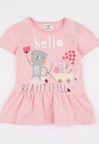 POP CANDY - Hello Beautiful Short Sleeve Dress Pale Pink