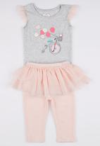POP CANDY - 2 Piece Bicycle  Romper Pant  Set Pale Pink