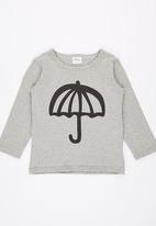 POP CANDY - Crew Neck Printed Umbrella  Tee Grey
