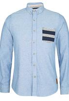 Brave Soul - Long Sleeve Shirt with Contrast Pocket Navy