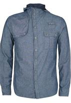 Brave Soul - Long Sleeve Hooded Denim Shirt Blue