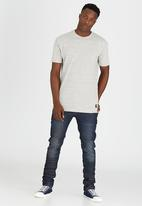 Brave Soul - Longer Length T-Shirt with Side Zips Off White