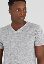 Brave Soul - V-Neck Spaced Dyed  T-Shirt Pale Grey