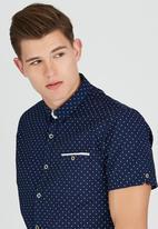 Brave Soul - Short Sleeve All Over Dot Shirt Navy