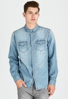 Brave Soul - Long Sleeve Denim Shirt Blue