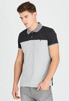 Brave Soul - Polo T-Shirt with Concealed Chest Pocket Dark Grey