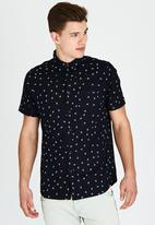 Brave Soul - Short Sleeve All Over Bird Shirt Navy