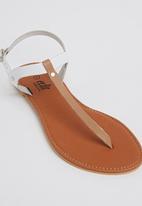 edit - Leather T-bar Sandals Neutral