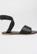 edit - Leather Ankle-strap Sandals Black