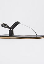 edit - Leather T-bar Sandals Black