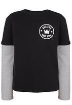 Rebel Republic - Printed Long Sleeve Double Layer Tee Black