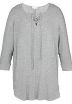edit - Criss-cross Tie-front Tunic Grey Melange