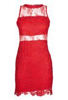 London Hub - Mini Scallop Lace Dress Red