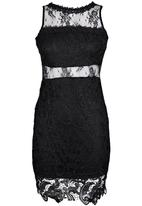 London Hub - Mini Scallop Lace Dress Black