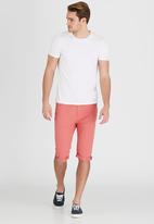 Brave Soul - Chambray Turn Up Shorts Coral