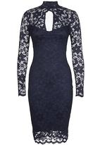 c0d6ec47f3c6 High-Neck Lace Midi Dress Navy London Hub Occasion   Superbalist.com