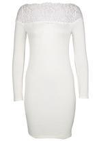London Hub - Lace Inset Mini Dress White