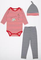 POP CANDY - 3 Piece Pant Romper Set Red