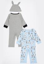 POP CANDY - 3 Piece Panda Zebra Set Blue and Grey