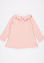 POP CANDY - Collar Long Sleeve Dress Pale Pink