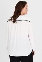 edit Plus - Contrast Trim Blouse White