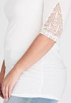 edit Plus - Lace Detail Sleeve Top Milk