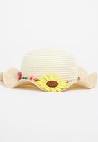 POP CANDY - Sunflower & Bead Trim Sunhat Cream