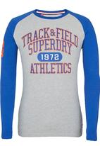 Superdry. - Trackster Baseball Long Sleeve T-Shirt Grey