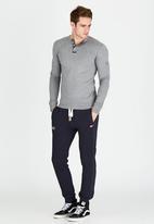 Superdry. - Heritage Long Sleeve Grandad T-Shirt Grey