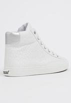 Tom Tom - Croc Effect High-top Sneakers White