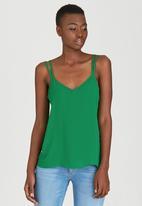 c(inch) - Double Strap V-neck Cami Green