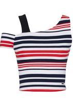 SISSY BOY - Rosanna Stripe Rib Crop Top Red