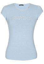 SISSY BOY - Adara Logo Tee with Diamante Trim Pale Blue