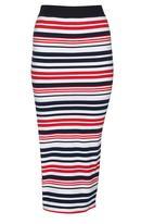 SISSY BOY - Federica Stripe Rib Midi Skirt Red