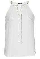 SISSY BOY - Natalya V-neck Tank with Eyelet Details Milk