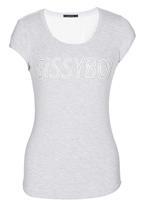 SISSY BOY - Kira Logo Tee with Lace Detail Grey Melange