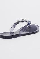 63a0bdeaa2679c Jelly Diamante Sandals Blue Holster Sandals   Flip Flops ...