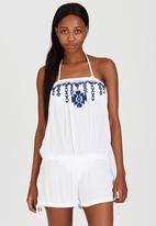London Hub - Bandeau Playsuit with Embroidery Detail Blue and White