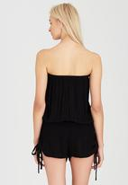 London Hub - Bandeau Playsuit with Embroidery Detail Black
