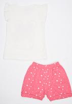 POP CANDY - 2 Piece Printed Bunny  Set Pale Pink