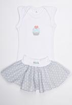 Pickalilly - Sleeveless Baby Grow And Skirt Set Grey