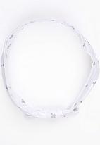 Pickalilly - Knotted Head Band With Cross Print White