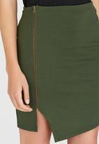 c(inch) - Asymmetrical Mini Skirt Dark Green