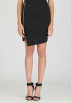c(inch) - Asymmetrical Mini Skirt Black