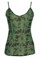 COLLEEN EITZEN - Floral Printed Cami Dark Green
