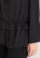 Brave Soul - Long Sleeve Peplum Hem Peasant Blouse Black