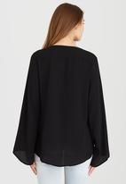 Brave Soul - Tie-up Side Detail Blouse Black