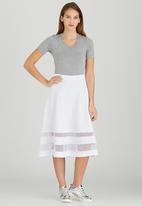 STYLE REPUBLIC - Mesh Inset Midi Skirt White